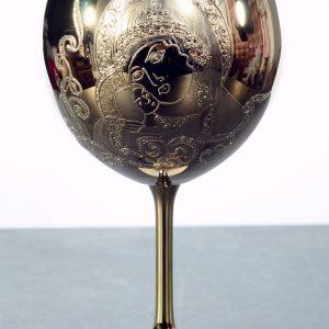"""Кристален в злато ритуален бокал""""Богородица"""" за църковен брак."""