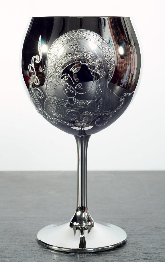 """Кристален в сребро ритуален бокал""""Богородица"""" за църковен брак."""