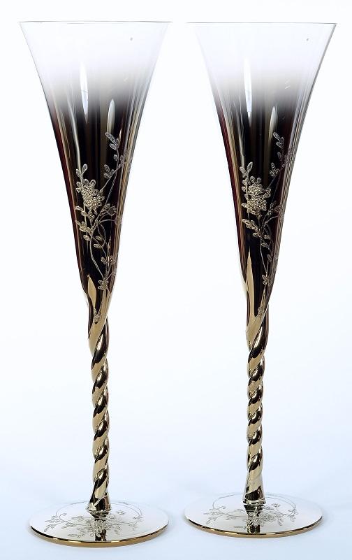 Сватбени чаши Gold Flowers