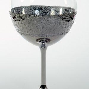 """Кристален в сребро ритуален бокал""""цвят"""" за църковен брак."""