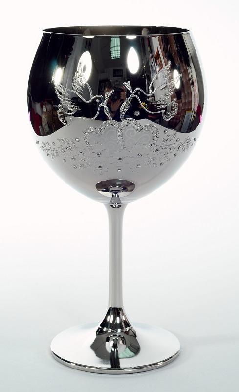 """Кристален в сребро ритуален бокал""""сърца"""" за църковен брак."""