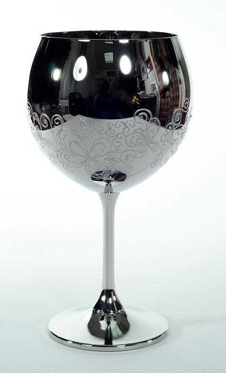 """Кристален в сребро ритуален бокал""""цветя"""" за църковен брак."""