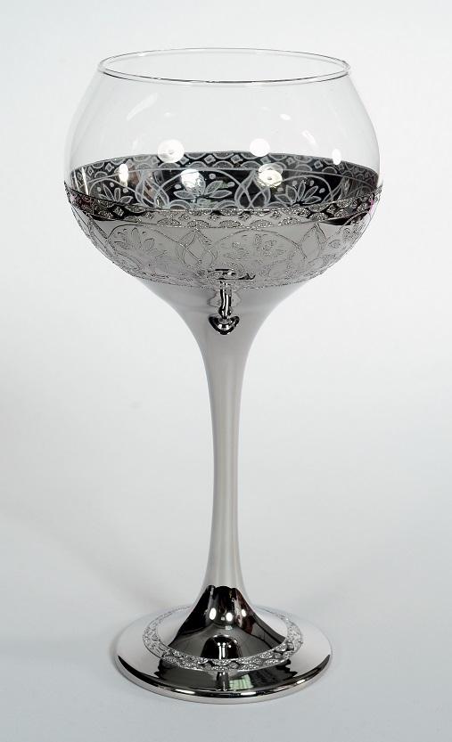 """Сребрън кристален църковен бокал """"цвете"""" за църковен брак"""