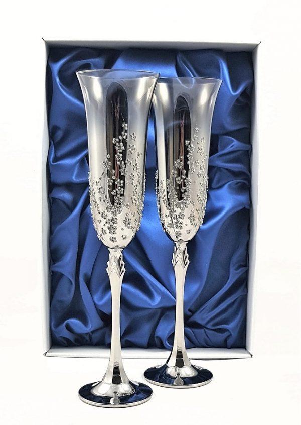 Метализирани луксозни сватбени чаши
