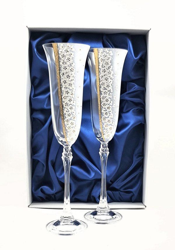 """Кристални ритуални чаши ръчно рисувани и декорирани. """"Злато"""""""