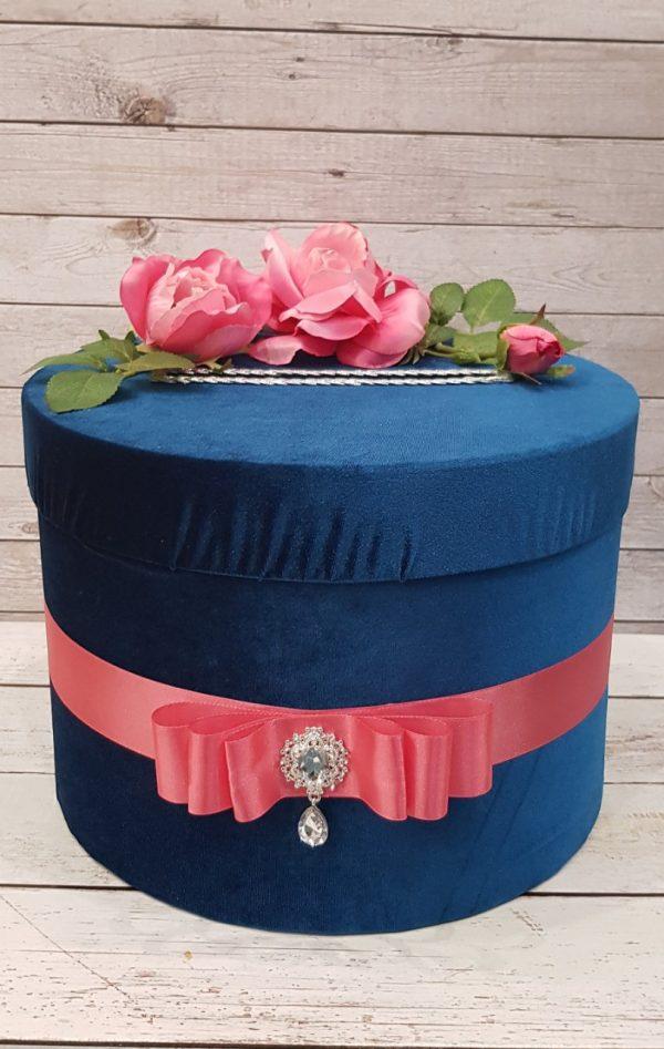 """Сватбена кутия за пари """"Тюркоаз и рози"""""""