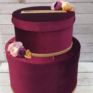 """Сватбена кутия за пари """"Вишнево със злато"""""""