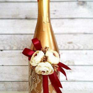 "Сватбено шампанско ""Злато и божури"""
