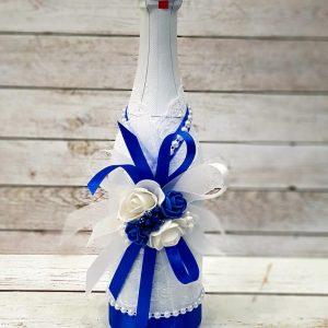 """Сватбено шампанско """"Лазурно синьо"""""""