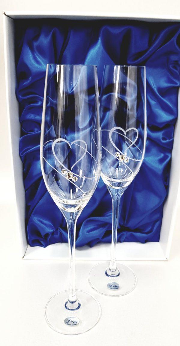 """Кристални ритуални чаши с камъни Сваровски """"Love"""""""