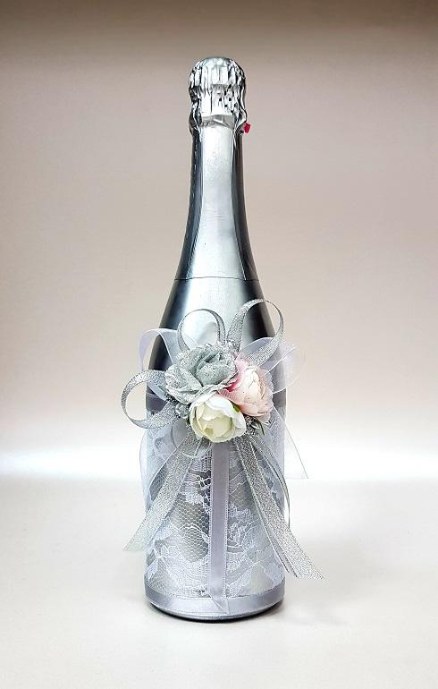 """Сватбено шампанско """"Сребро и пудра"""""""