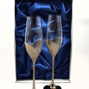 """Кристални ритуални чаши """"Златно Сърце"""""""
