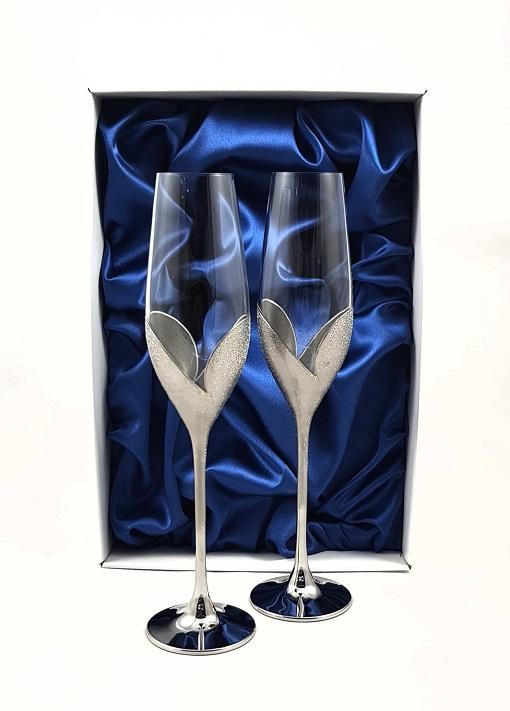 """Кристални ритуални чаши """"Сребърно Сърце"""""""