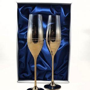 "Метализирани луксозни ритуални чаши ""Златен ринг"""