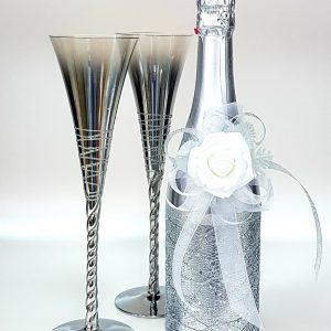 """Сватбен комплект """"Сребро и Бяла роза"""""""