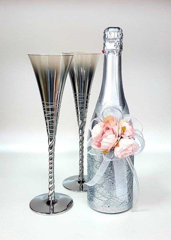 """Сватбен комплект """"Сребро и три роза"""""""
