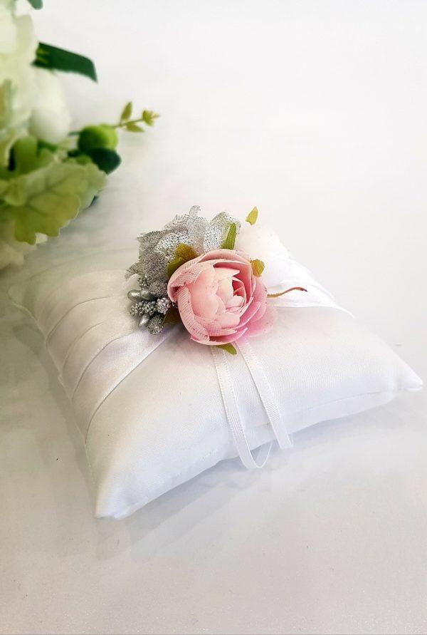 "Възглавничка за халки бяла ""сребро и роза"""