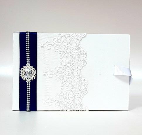 """Сватбена книга за пожелания """"Кралско синьо и кристал"""""""