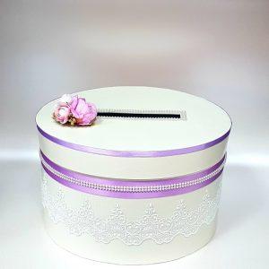 """Сватбена кутия за пари """"Екрю и нежно лилаво"""""""