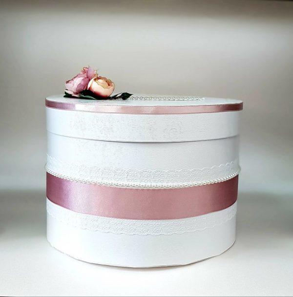 """Сватбена кутия за пари """"Пудра и цветя"""""""