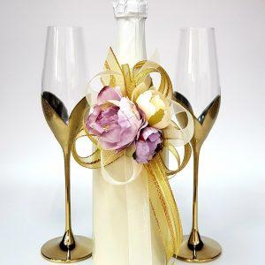 """Сватбен комплект """"Букет в злато и лила"""""""