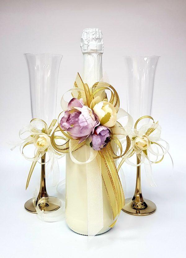 """Сватбен комплект """"Екрю, злато и лилаво"""""""