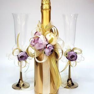 "Сватбен комплект ""Злато и украса в злато и лилаво"""